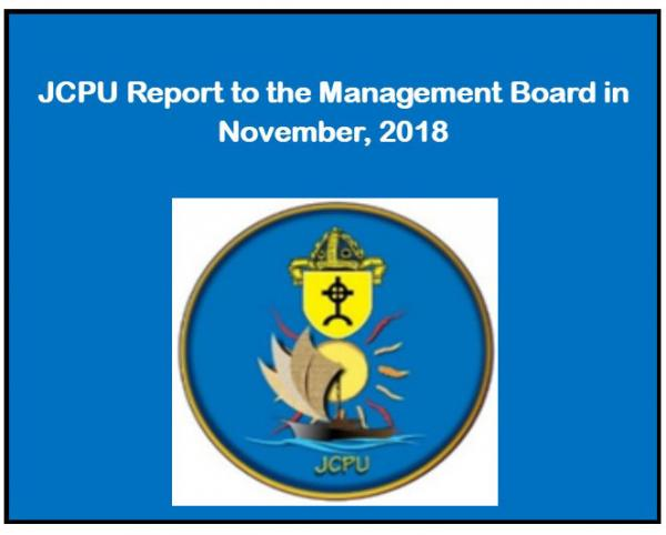 JCPU Report to the Management Board in November, 2018