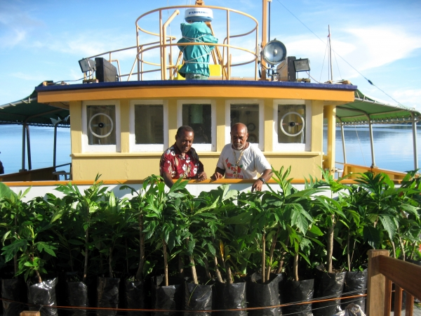 Climate Change shipment of fruit trees on board MV Southern Cross to Onton Java in 2012
