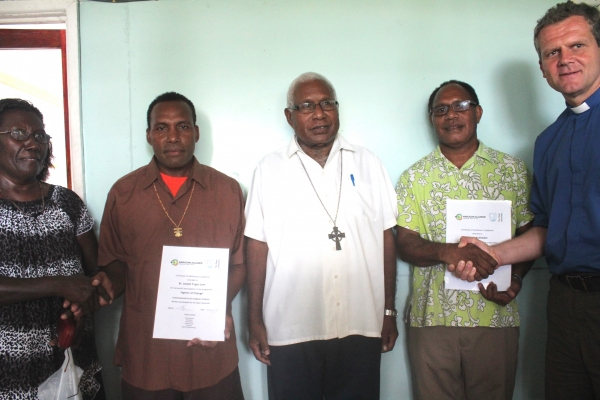 From left: Mrs. Tagoly, Br. Lent, Archbishop David, Mr. Dennis and  Rev. Andy Bowerman